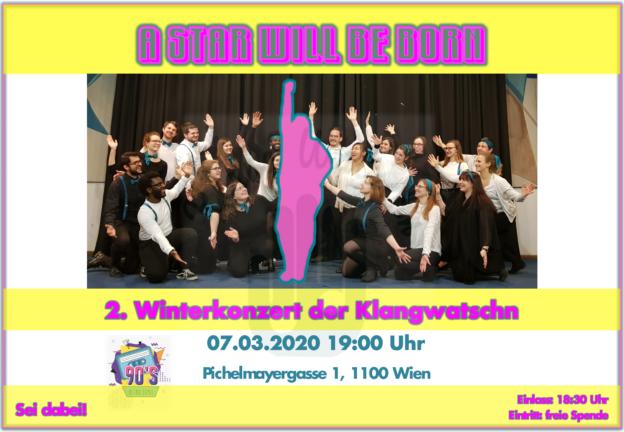 Flyer des Winterkonzerts der Klangwatschn am 07 März 2020